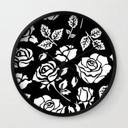 White Rose #illustration #pattern Wall Clock