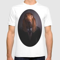 Good-Night, Sir Hound MEDIUM White Mens Fitted Tee