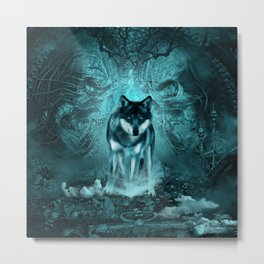 Awesome wolf in the night Metal Print