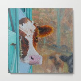 Cow in the Stall Metal Print