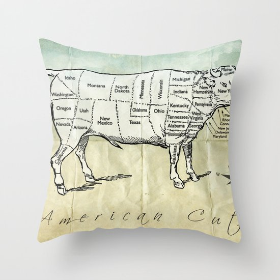 American Cuts Throw Pillow