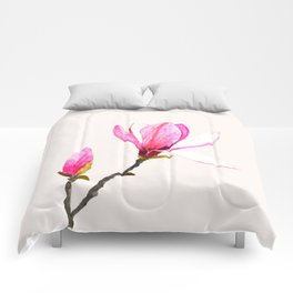 magnolia watercolor painting Comforters