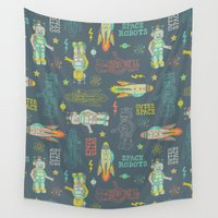 robots Wall Tapestries featuring Robots from Outer space by Silvia Dekker