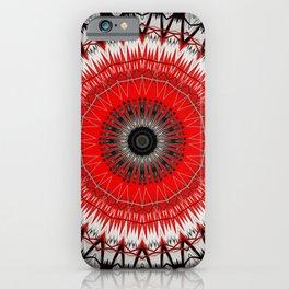 Bright Red White Mandala Design iPhone Case