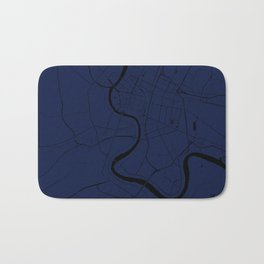 Bangkok Thailand Minimal Street Map - Navy Blue and Black Bath Mat