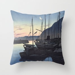 Japanese Art - Morning in Beppu by Kawase Hasui, 1928 Throw Pillow