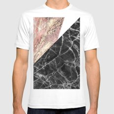 Marble Abstract Pink Mens Fitted Tee MEDIUM White
