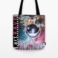 artrave Tote Bags featuring artRAVE by Denda Reloaded