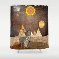 howl Shower Curtains featuring Wolf howl by Design4u Studio
