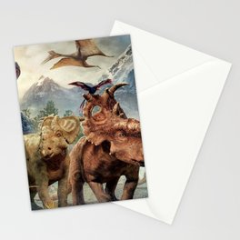Jurassic dinosaurs playing Stationery Cards