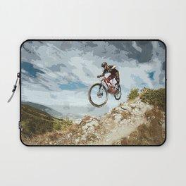 Flying Downhill on a Mountain Bike Laptop Sleeve