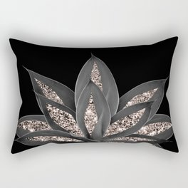Gray Black Agave with Rose Gold Glitter #1 #shiny #tropical #decor #art #society6 Rectangular Pillow