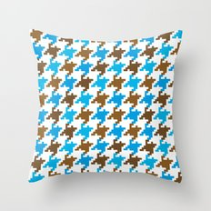 Houndstooth – blue Throw Pillow