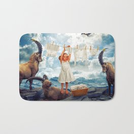 Little Girl Uses Capricorn As Clothesline Collage Ultra HD Bath Mat