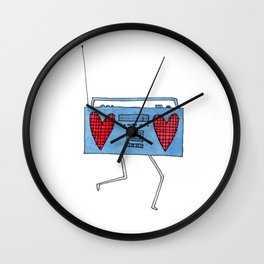 boombox with hearts Wall Clock