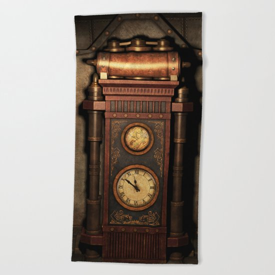 Steampunk Generator Bronze Beach Towel