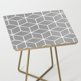 Light Grey and White - Geometric Textured Cube Design Side Table
