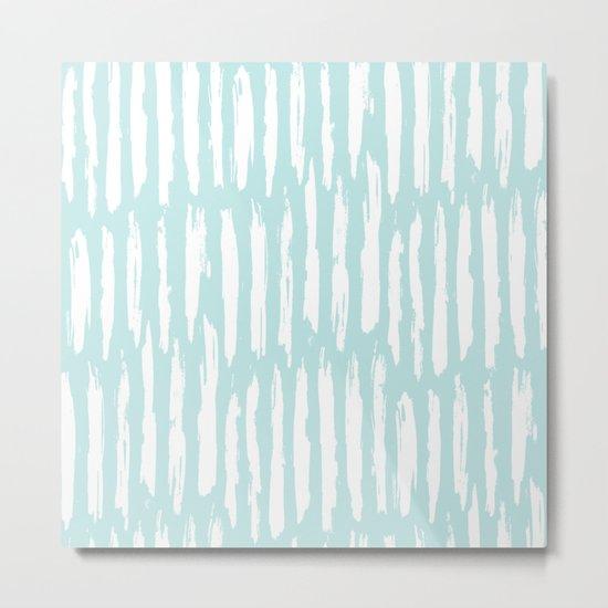 Vertical Dash Stripes White on Succulent Blue Metal Print