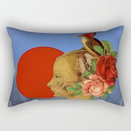 woman with birds and flowers hat Rectangular Pillow