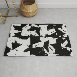 Distant Memories - Abstract Painting In Black And White Rug