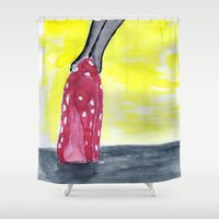 shoe Shower Curtains featuring shoe heels by Isabel Sobregrau