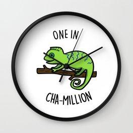 One In Cha-million Cute Chameleon Pun Wall Clock
