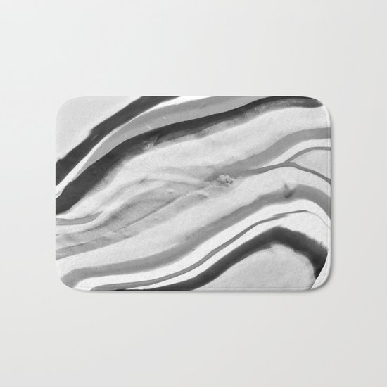Shadow of Ourselves Marbling Marble Circle World Black and White Bath Mat
