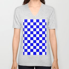 Checkered - White and Blue Unisex V-Neck