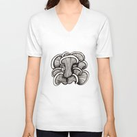 mushrooms V-neck T-shirts featuring Mushrooms by Freja Friborg