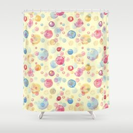 Colorful Watercolors Polka Dots Shower Curtain