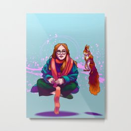 A Witch and her Mystical Squirrel Metal Print