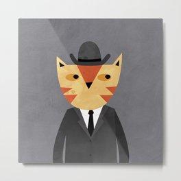 Ginger Cat in a Bowler Hat Metal Print