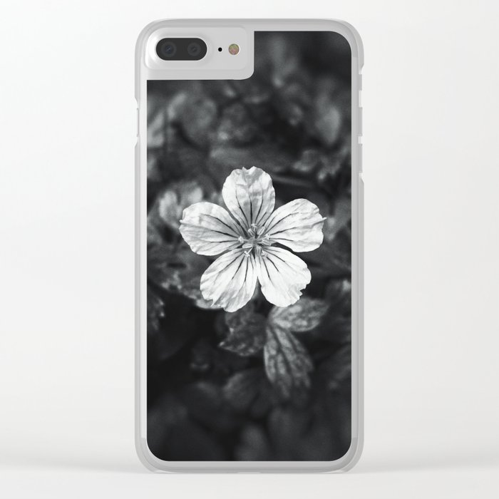 Minimalistic black and white flower petal Clear iPhone Case