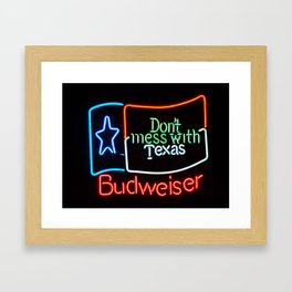 Don't Mess With Texas - Neon Beer Sign Framed Art Print