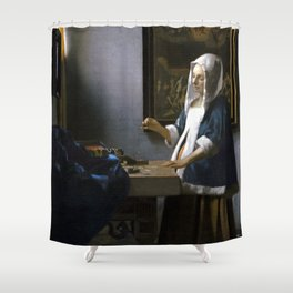 Johannes Vermeer Woman Holding a Balance Shower Curtain