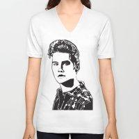 stiles stilinski V-neck T-shirts featuring Stiles Stilinski Teen Wolf Design by ShondraHilliard.com