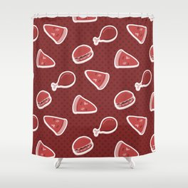 Pizza Burgers and Fried Chicken Time Picnic on Red Shower Curtain