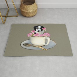 Coffee Cup with Dog black and white and Lotos Flower Rug