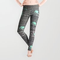 mint Leggings featuring Mint Elephant  by Sunkissed Laughter