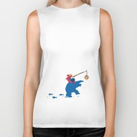 cookie monster Biker Tanks featuring Cookie Monster Donkey - Larger Placement by OneWeirdDude