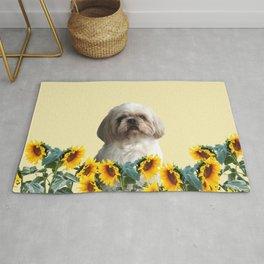 Paul Top Model - Shih tzu dog - Sunflower leaves Rug
