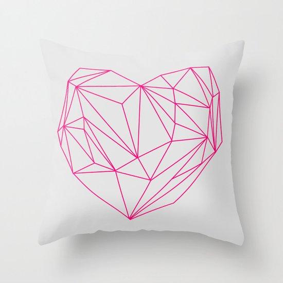 Heart Graphic Neon Version Throw Pillow