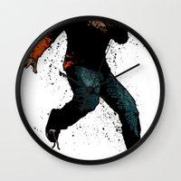 onward Wall Clocks featuring Onward Ever Downwards by Matthew Dunn