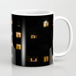 Night landscape facades and windows of houses in the city Coffee Mug