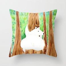 Polar Bear On Holiday Throw Pillow