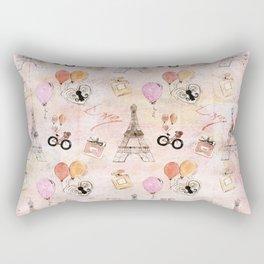 Paris Love Valentine Vintage Eiffel tower Perfume Pattern in pink Rectangular Pillow