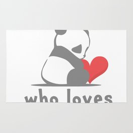 Just a girl loves panda on white. heart Rug