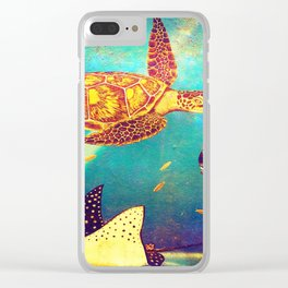 Beautiful Sea Turtles Under The Ocean Painting Clear iPhone Case