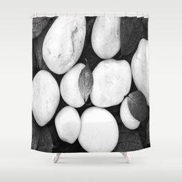 Zen White Stones On A Black Background #decor #society6 #buyart Shower Curtain