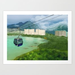Cable Car in Hong Kong Art Print